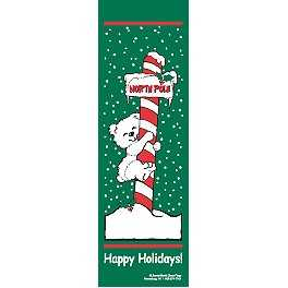 "96"" x 30"" Sunbrella Street Banner - Happy Holidays North Pole Bear"